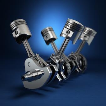 V4 engine pistons and cog on blue background. 3d