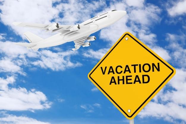 푸른 하늘 배경에 흰색 제트 여객기의 비행기가 있는 휴가 전 교통 표지. 3d 렌더링
