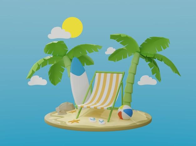 休暇と旅行のコンセプト。楽園の島のヤシの木とビーチチェア