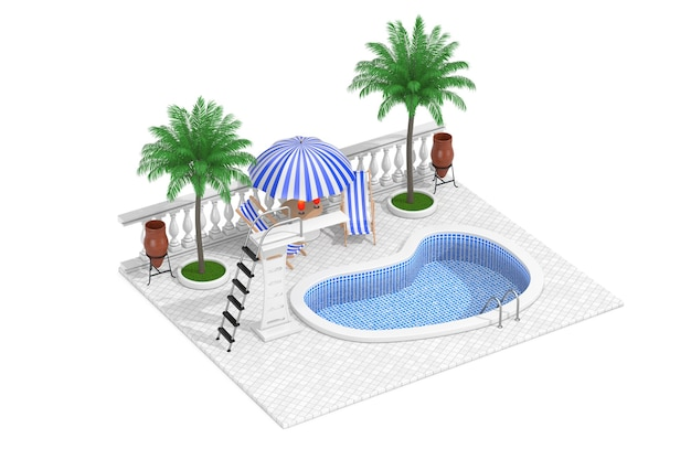 Vacation concept. isometric water pool, mini bar and palms on a white background. 3d rendering