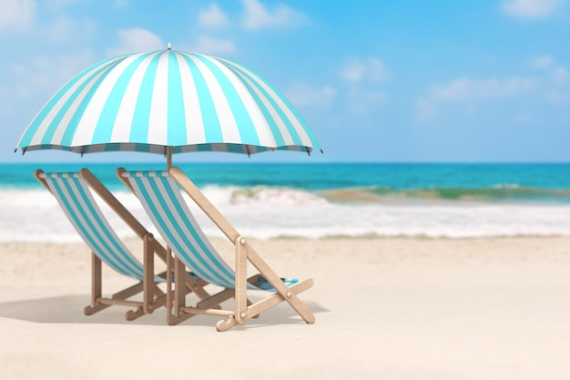 Vacation concept. pair of beach chair with umbrella in an ocean deserted coast extreme closeup. 3d rendering
