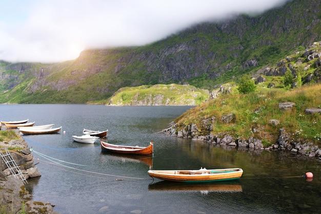 Концепция отпуска с лодками у идиллического фьорда в норвегии