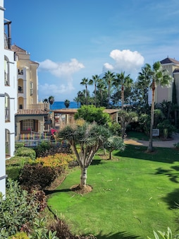 Vacation resort in the south of spain with views to the coast during summer