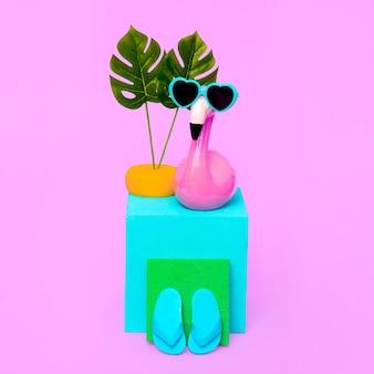 Vacation summer composition. funny flamingo beach lover. minimal art
