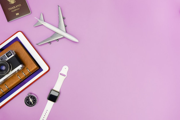 Vacation travel technology gadgets and objects for travel concept background