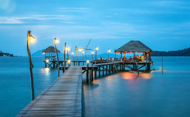 Vacations and tourism concept. tropical resort. jetty on koh mak island, trad, thailand
