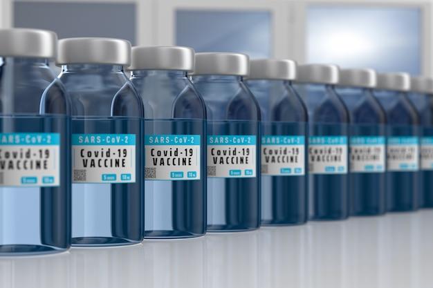 Вакцина от covid-19 в лаборатории. 3d иллюстрации