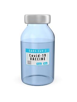 흰색 바탕에 covid-19에서 백신. 격리 된 3d 그림