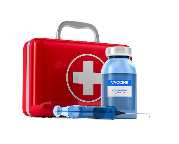 白地にcovid-19からのワクチン。
