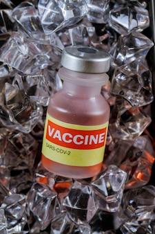 氷上ワクチンワクチンは、covid-19コロナウイルスsars-cov-2の滅菌バイアルをコールドボトルに入れます