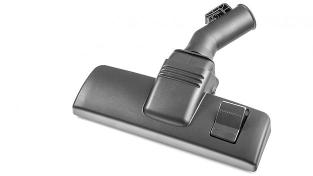 청소기 노즐, 브러시, 청소 액세서리. 흰색에 검은 진공 청소기 노즐입니다.