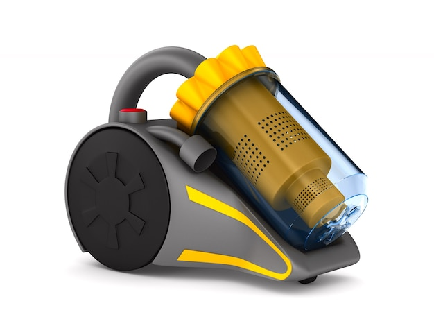 Vacuum cleaner on white surface. isolated 3d illustration