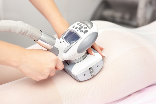 Vacuum massage device. anti cellulite body correction treatment.