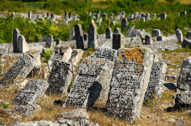 Вадул рашков, шолдэнешть, молдова, сентябрь: старые разрушенные надгробия на древнем еврейском кладбище, ныне заброшенном. еврейская община была уничтожена нацистами