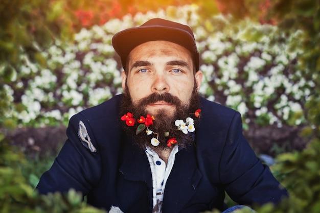 花壇の浮浪者