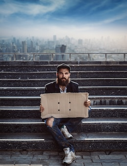 Vagrant with cardboard