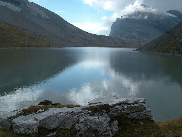 Valais lonely switzerland water see mountains