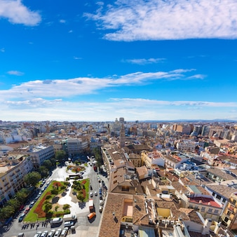 Valencia aerial skyline with plaza de la reina spain