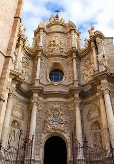 Valencia cathedral seu facade in plaza de la reina