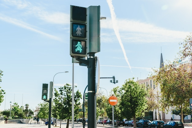 Valencia, spain - november 29, 2018: inclusive traffic lights with female signals.