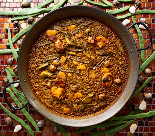 Valencian paella with chicken and rabbit