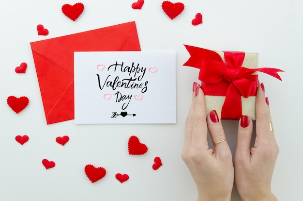 Valentine 14 february hand lettering greeting card.