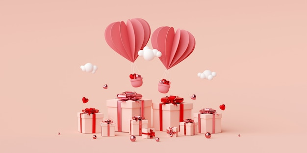 Валентина баннер фон воздушный шар в форме сердца с подарочной коробке 3d-рендеринга