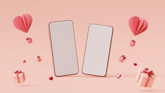 선물 상자와 심장 모양 풍선 3d 렌더링 스마트 폰의 발렌타인 배너 배경