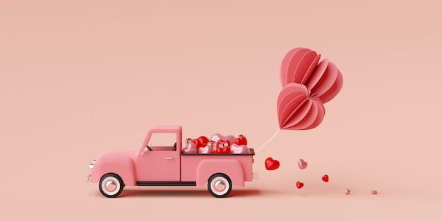 Валентина баннер фон грузовик полный воздушный шар в форме сердца с подарочной коробке 3d рендеринга