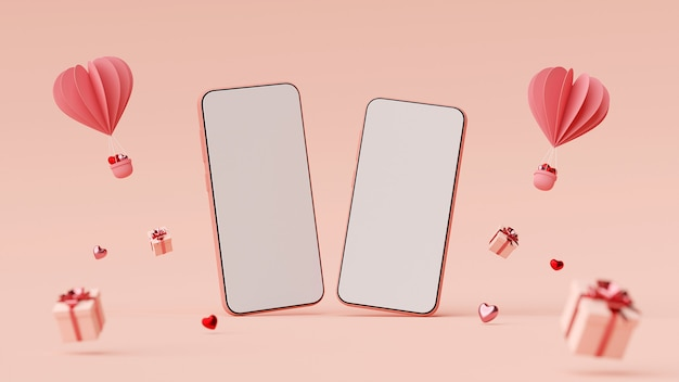 Valentine banner background of smartphone with gift box and heart shape balloon 3d rendering