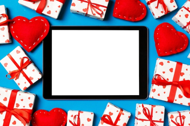 Valentine cheerful in holiday decoration, copy space for design.