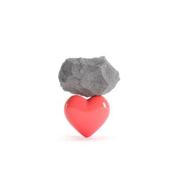 Valentine concept rock put on red heart shape on white background. 3d render. minimal valentine concept.