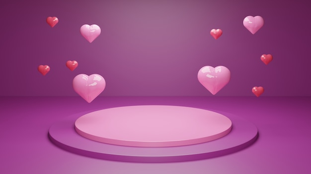 Valentine day 3d rendering of a podium with geometric shapes