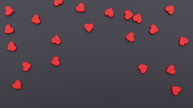 赤いハートとバレンタインデーの背景。 3dイラスト美しい聖バレンタインデーの黒い休日の背景。チラシ、招待状、バナー、グリーティングカードのデザイン。