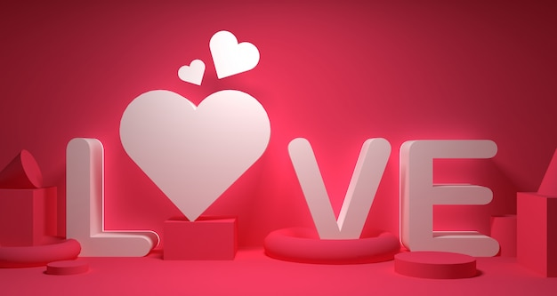 Valentine day banner background. geometry 3d rendering.