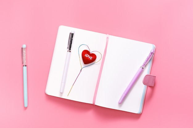 Valentine day concept, love daily with heart shape on pink background