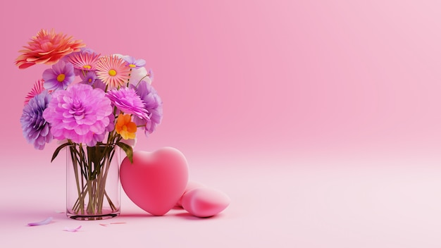 День святого валентина на розовом фоне с красными сердцами и разноцветными цветами