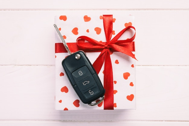 Valentine, gift box in holiday wrapper with copy space
