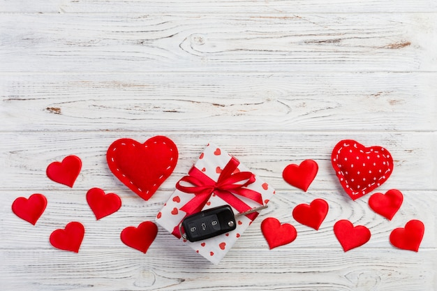 Valentine gift box, red hearts and car key