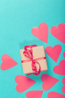 Valentine gift box with hearts