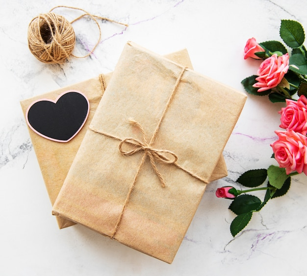 Valentine gift boxes and roses bouquet