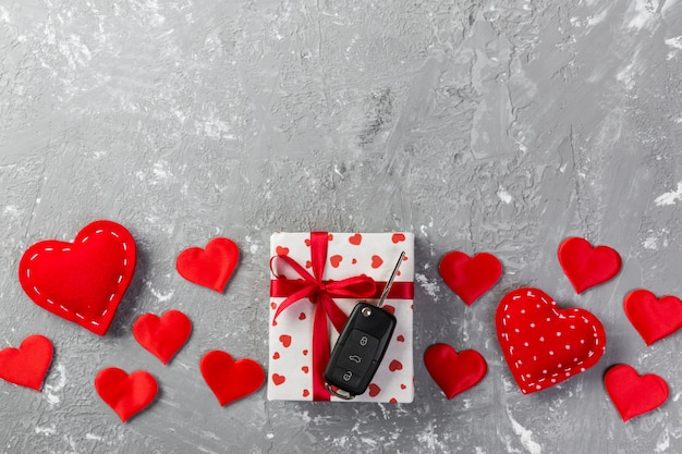 Valentine gift in holiday decoration, copyspace