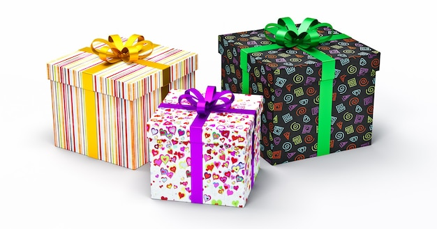 Valentine gifts boxes with hearts on  white background