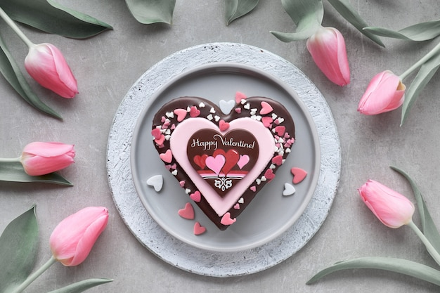 Valentine heart cake with chocolate, sugar decorations and text