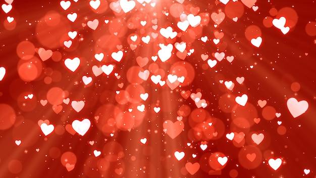 Valentine hearts on red background