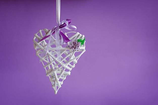 Valentine love white heart handemade on purple