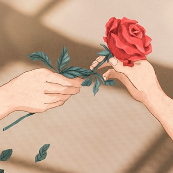 Valentine's couple exchanging rose hand drawn illustration