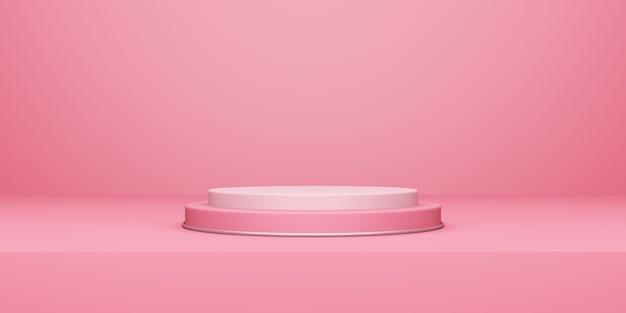День святого валентина, трехмерная иллюстрация круглого подиума или пьедестала с розовой пустой студией, фон продукта, макет для отображения концепции любви