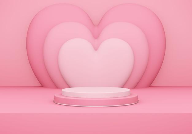 バレンタインデー、ピンクの空のスタジオルームと丸い表彰台または台座の3dイラスト、後ろにハートが重なっている製品の背景、愛のコンセプトディスプレイのモックアップ