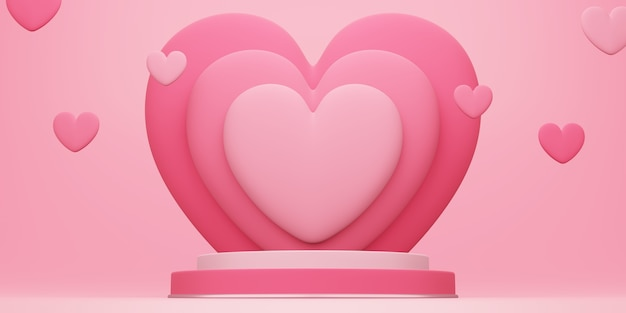 バレンタインデー、赤い空のスタジオルームと丸い表彰台または台座の3dイラスト、後ろにハートが重なり、ハートが浮かんでいる製品の背景、愛のコンセプトディスプレイのモックアップ